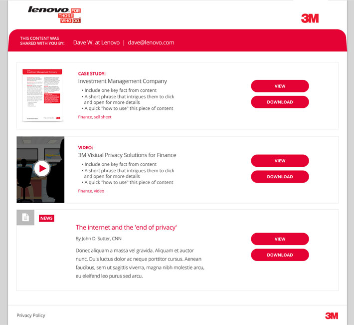 3M Screens Sales Portal - Shared Kit Content